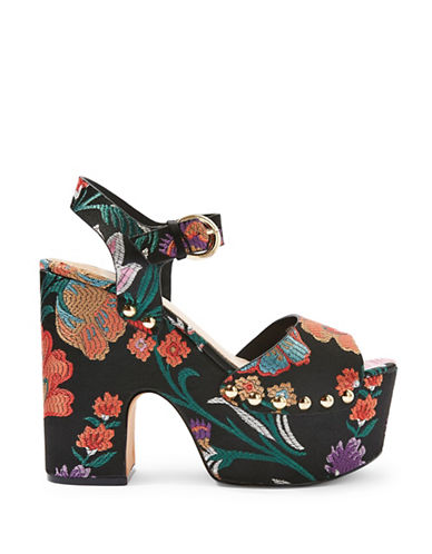 Topshop Lourdes Embroidered Platform Heeled Sandals-MULTI-EU 36/US 5.5
