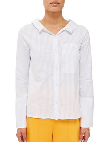 Topshop Striped Tie-Back Shirt by Boutique-WHITE-UK 10/US 6