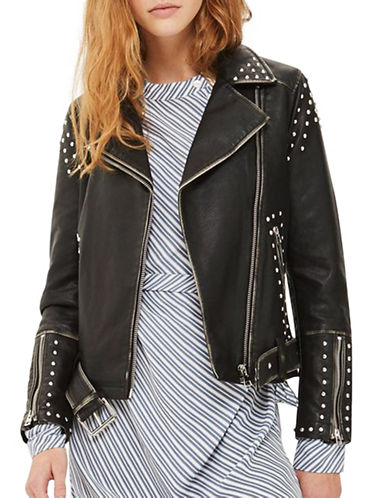 Topshop Studded Faux Leather Biker Jacket-BLACK-UK 12/US 8
