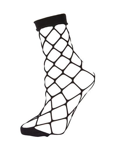 Topshop Fishnet Ankle Socks-BLACK-1