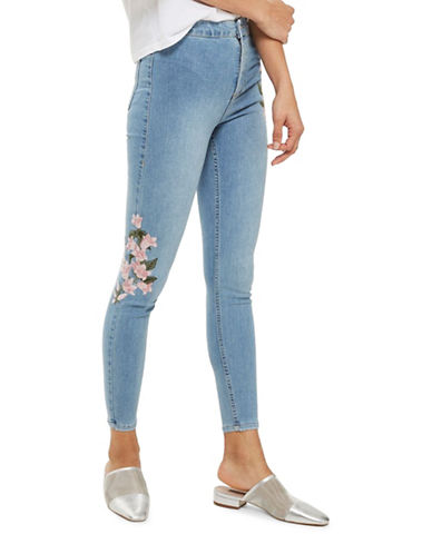 Topshop MOTO Floral Embroidered Joni Jeans 30-Inch Leg-BLEACH-26X30