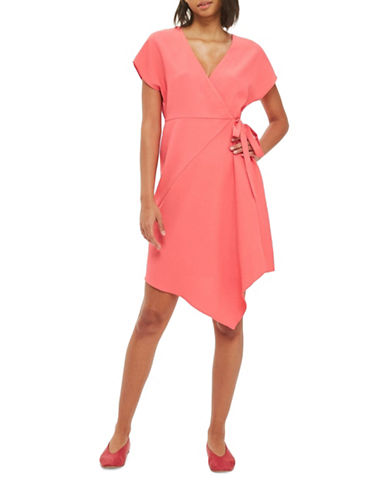 Topshop PETITE Asymmetric Hem Wrap Dress-CORAL-UK 6/US 2