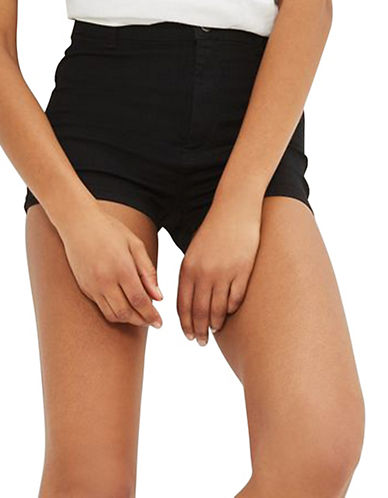 Topshop MOTO Joni Stretch Shorts-WASHED BLACK-UK 6/US 2