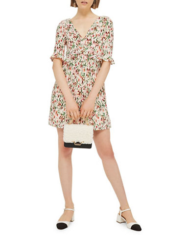 Topshop Floral Crinkle Mini Dress-MULTI-UK 10/US 6