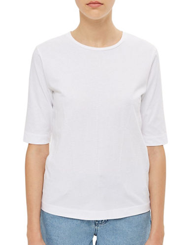 Topshop Corset Stitch Tee by Boutique-WHITE-UK 10/US 6