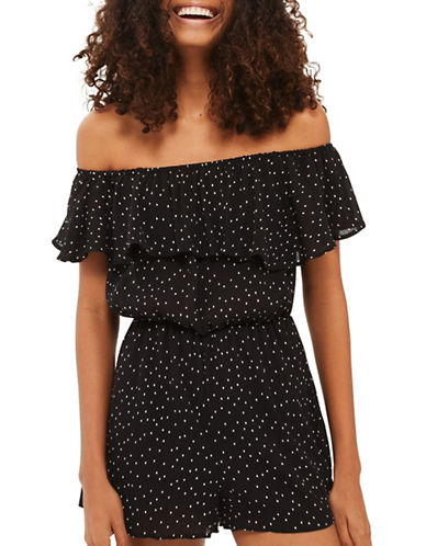 Topshop Dot Print Bardot Romper-MONOCHROME-UK 10/US 6