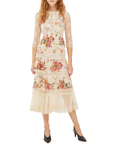 Topshop Lace Tier Floral Midi Dress-IVORY-UK 10/US 6