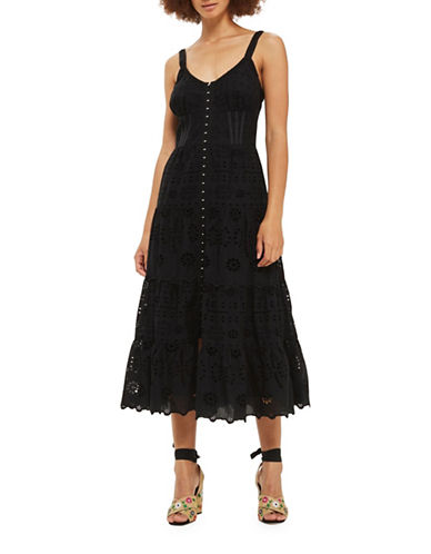 Topshop Broderie Midi Sun Dress-BLACK-UK 10/US 6