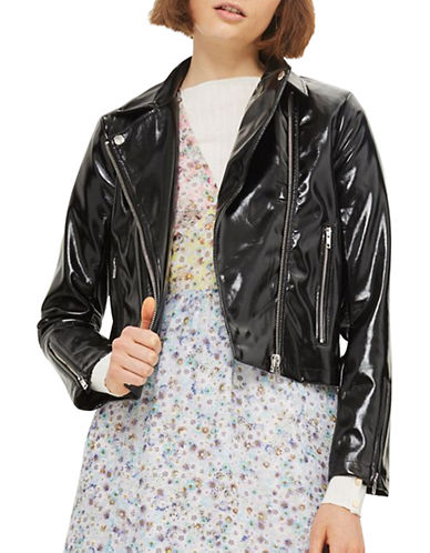 Topshop Cropped Vinyl Biker Jacket-BLACK-UK 10/US 6