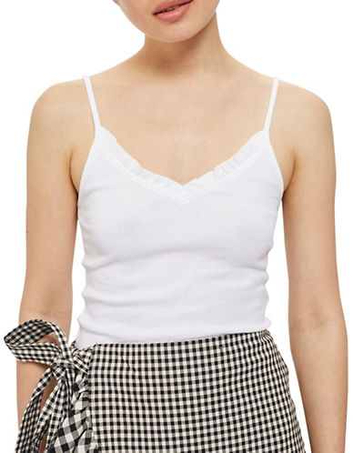 Topshop Ivy Strappy Tank Top-WHITE-UK 12/US 8