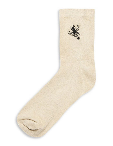 Topshop Embroidered Glitter Bee Socks-GOLD-1