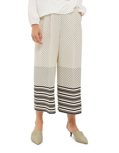 Topshop Printed Crop Wide Leg Trousers-MONOCHROME-UK 12/US 8