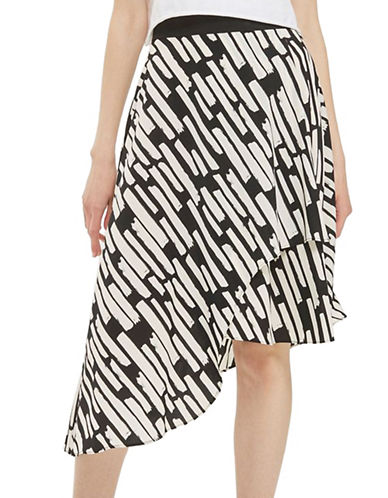 Topshop Striped Midi Skirt-MONOCHROME-UK 12/US 8