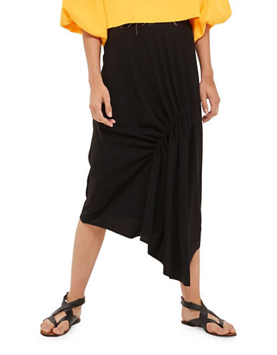 Topshop Ruched Drape Midi Skirt-BLACK-UK 12/US 8