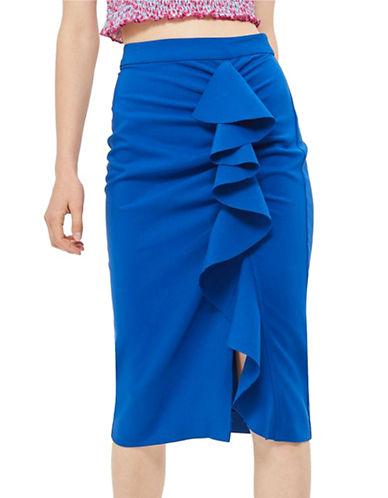 Topshop Ruffle Crepe Midi Skirt-COBALT-UK 6/US 2