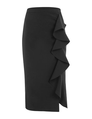 Topshop Ruffle Crepe Midi Skirt-BLACK-UK 10/US 6