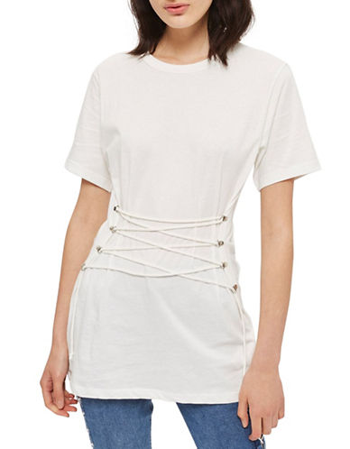 Topshop Longline Corset T-Shirt-WHITE-UK 14/US 10