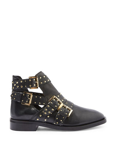 Topshop Ark Leather Studded Buckle Boots-BLACK-EU 37/US 6.5