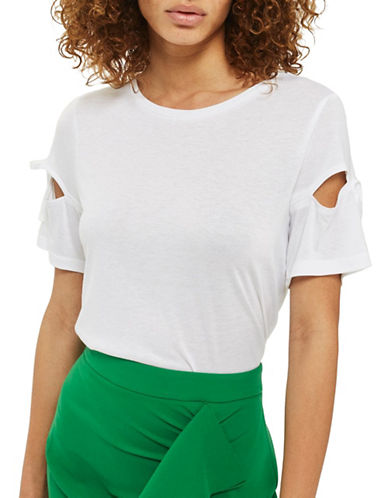 Topshop Ribbon Sleeve T-Shirt-WHITE-UK 16/US 12
