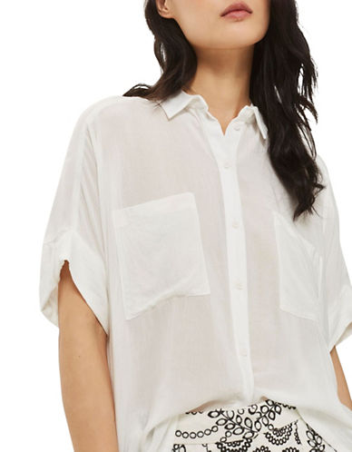 Topshop Short-Sleeved Shirt-IVORY-UK 12/US 8