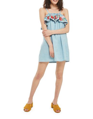 Topshop MOTO Embroidered Denim Dress-BLEACH-UK 6/US 2