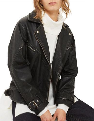 Topshop Oversized Leather Biker Jacket-BLACK-UK 8/US 4