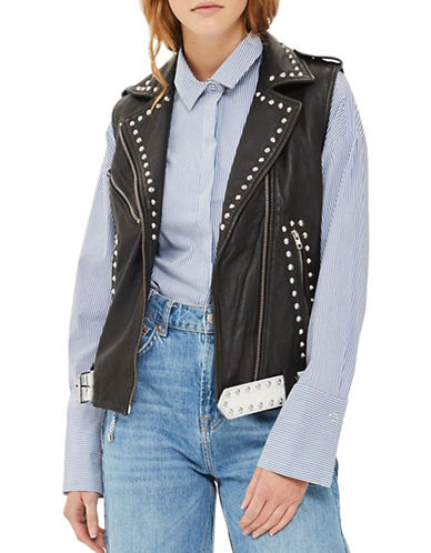 Topshop Studded Sleeveless Biker Jacket-BLACK-UK 8/US 4
