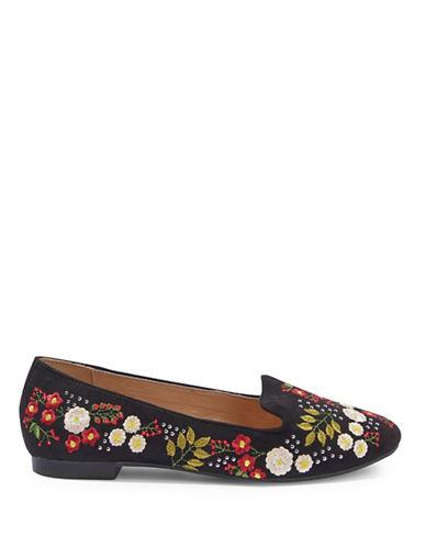 Topshop Sugar Embroidered Flat Shoes-BLACK-EU 36/US 5.5