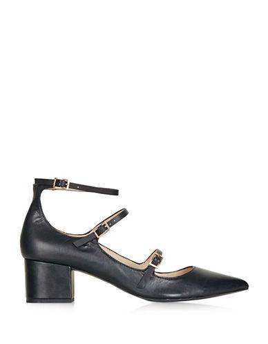 Topshop Jolene Two-Part Cap Sandals-BLACK-EU 39/US 8.5