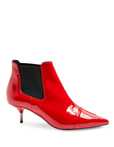Topshop Monica Pointed Kitten Heel Boots-RED-EU 38/US 7.5