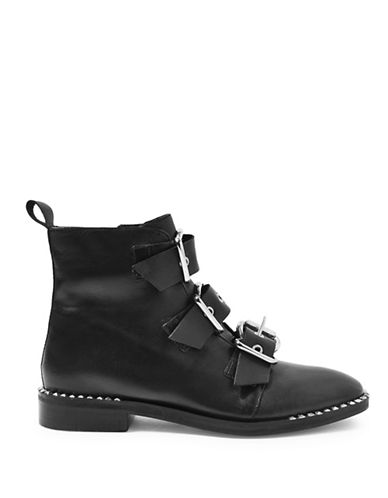 Topshop Alfie Leather Buckle Boots-BLACK-EU 37/US 6.5