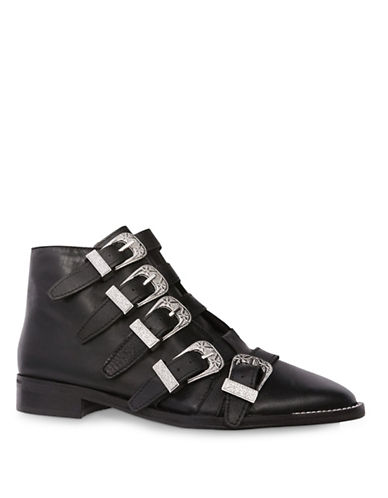 Topshop Andi Multi-Buckle Ankle Boots-BLACK-EU 39/US 8.5
