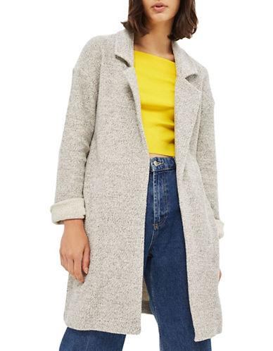 Topshop Textured Knit Throw-On Coat-MONOCHROME-UK 14/US 10