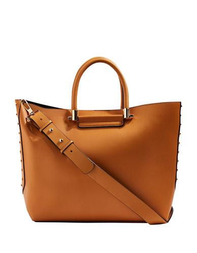 Topshop Simona Clean Shopper Tote-BROWN-One Size