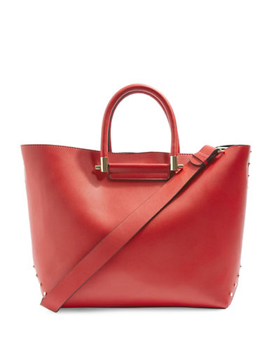 Topshop Simona Clean Shopper Tote-RED-One Size