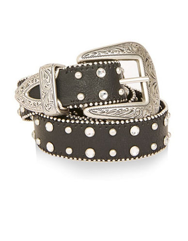 Topshop Gem Stud Double-Buckle Western Belt-BLACK-Medium