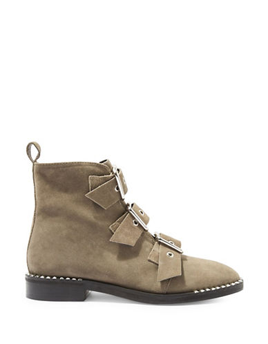 Topshop Alfie Leather Buckle Boots-GREY-EU 37/US 6.5