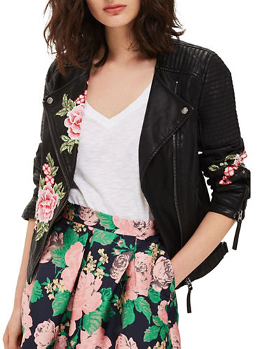 Topshop Luna Floral Applique Biker Jacket-BLACK-UK 8/US 4