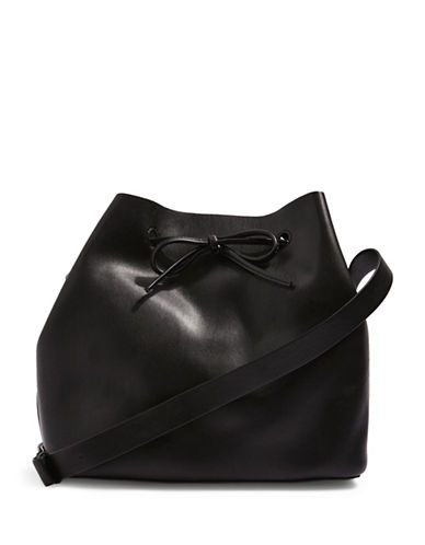 Topshop Stella Soft Bucket Bag-BLACK-One Size