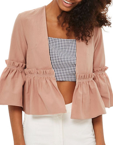 Topshop Topstitch Frill Jacket-BLUSH-UK 10/US 6