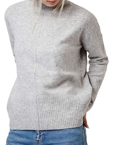 Topshop Oversized Funnel Neck Knitted Sweater-GREY MARL-UK 12/US 8
