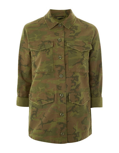 Topshop Camo-Printed Shacket-KHAKI-UK 6/US 2