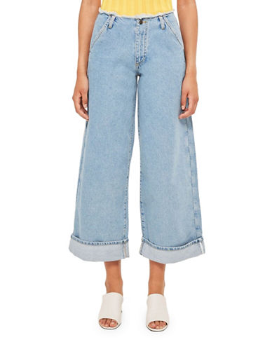 Topshop Super Wide Leg Frayed Jeans by Boutique-BLUE-UK 10/US 6