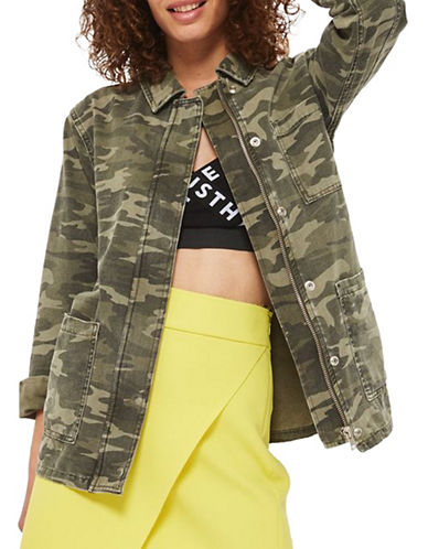Topshop Camo Shacket-KHAKI-UK 12/US 8