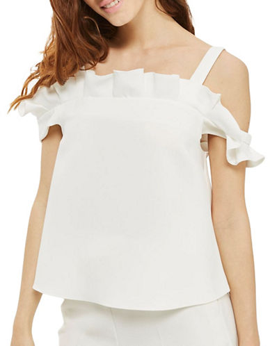 Topshop Pleated Cold-Shoulder Top-IVORY-UK 6/US 2