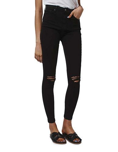 Topshop MOTO Rip Jamie Jeans 32-Inch Leg-BLACK-32X34