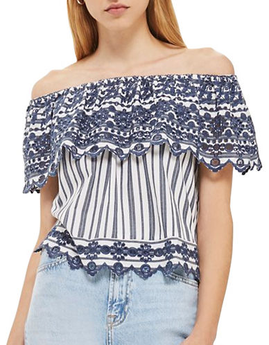 Topshop Broderie Striped Bardot Top-NAVY BLUE-UK 10/US 6