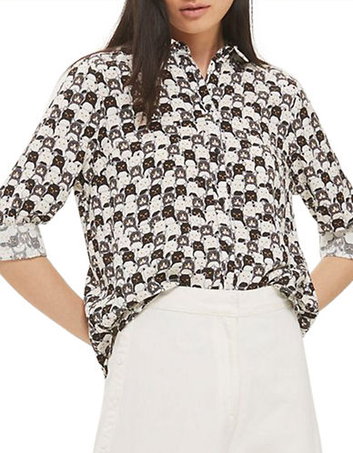 Topshop Cat Print Shirt-MONOCHROME-UK 6/US 2
