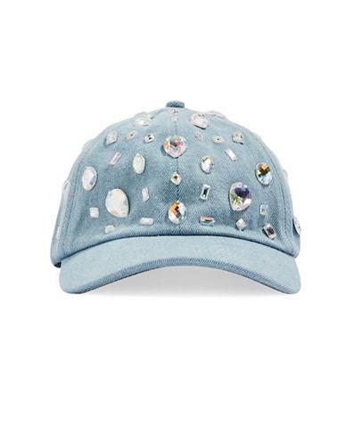 Topshop Bling Denim Baseball Cap-BLUE-One Size