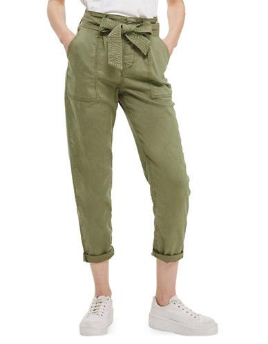 Topshop Paperbag Utility Trousers-KHAKI-UK 16/US 12